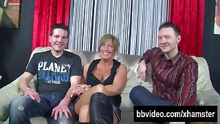 Short haired german milf gets double fucked