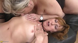 Mature busty MOMs coax young stupid sons