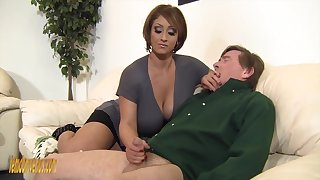 Age-old guy gets lucky and matured Kyle Stone gives him a handjob