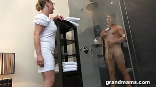 Old woman with high sex drive enjoys watching old crumpet taking a shower before having sex