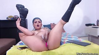 Tattooed camgirl in knee mighty boots toying her pussy then fucking ass with other sex trifle