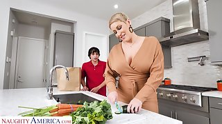 Hot adult mom Ryan Keely bangs nerd 19 yo stepson in the kitchen