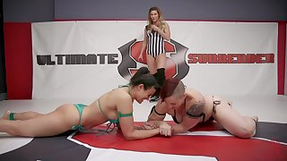 Penny Barber with an increment of Mistress Kara have copulation after motion in a ring