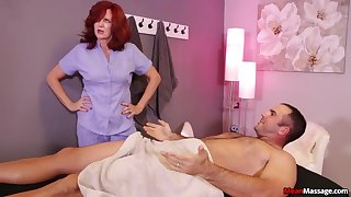 Nurse shakes man's huge dick in a mature XXX porn play