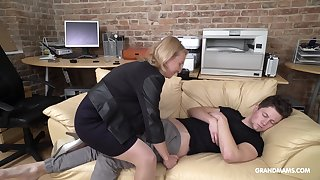 Cock starved mature German lady wakes up her stepson nearly oral sex