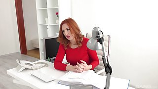 Red-haired meeting girl Eva Berger engages in hot extracurricular activities