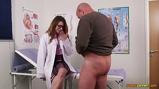 Female nurses ration cock in the most adroitly intimate CFNM threesome
