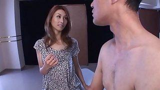 POV video of beautiful Japanese Akari Asahina sucking a dick