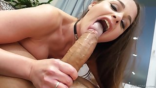 Girl makes sure to throat the dick hard before trying anal